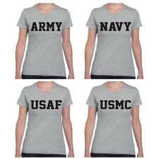 Army Navy Air Force USAF Marines USMC Ladies Junior Fit Military T Shirt