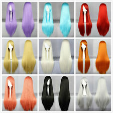 """32"""" 40""""Long Straight Cosplay Fashion Wig 26 Colors Lady heat resistant Full wigs"""