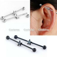 2x Stainless Steel 14G Barbell Star Long Industrial Ear Bar Ring Piercing Punk