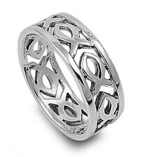 .925 Sterling Silver Religious Christian Fashion Fish Band Ring Size 7-13 NEW