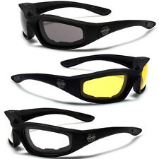 SOFT TOUCH BLACK CHOPPER MOTORCYCLE RIDING GOGGLES PADDED SPORT BIKER SUNGLASSES