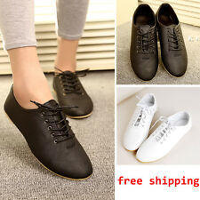 Vintage Women Black/White Lace Up Loafers Casual Slip-on Round Toe Flat Shoes