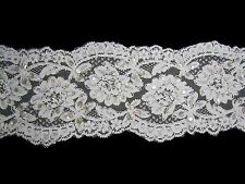 """Unotrim 5"""" White and Ivory Beaded Sequins Floral Lace Trim By Yardage"""