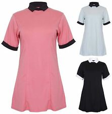 Ladies Plus Size Short Sleeve Contrast Peter Pan Collar And Cuffs Swing Dress