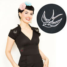 Steady Clothing Sparrow Lush Top Retro Rockabilly Pin Up Vintage Office Tattoo