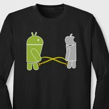 Phonewars APPLE DROID Pissing Contest Funny Mobile Iphone Long Sleeve Tee