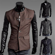 Fashion Slim men Business Casual Suit Button Stiching Jacket Narrow Collar Coat