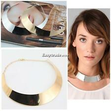 New Metal Chic Punk Style Curved Mirrored Choker Polished Bib Slim Necklace ESY1