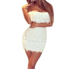 New Summer Lady White Lace Bandage BodyCon Evening Sexy Party Cocktail Dress M/L
