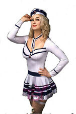 SEXY WHITE AND BLUE NAUTICAL SAILOR FANCY DRESS COSTUME HALLOWEEN PARTY SEA