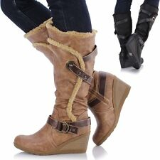 Ladies Womens Leather Style Medium Flat Wedge Knee High Calf Biker Fur Boots
