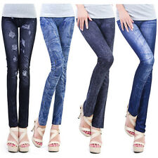Fashion Damen Leggings Stretch Dünn Gamaschen-Bleistift-Hosen Faux-Jeans Hose