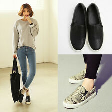Women Casual Loafer Korean Style Python Print Flat Heel Shoes Slip-on Round Toe