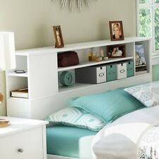 NEW Full Queen Wooden Bookcase Storage Headboard Mounted Bed Decor Bedroom White