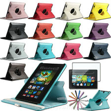 "2013 New Kindle Fire HD 7"" inch PU Leather 360 Rotating Stand Case Smart Cover"
