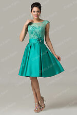 New Cap Sleeve Satin & Lace Dress Prom Party Formal Pageant Evening Dresses y-bk