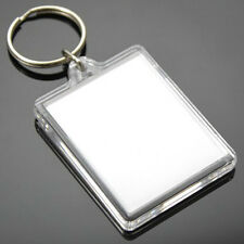 100 Clear Acrylic Plastic BLANK KEYRINGS 45 x 35 mm Insert - PASSPORT PHOTO SIZE