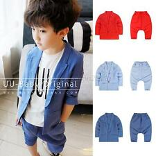 Kids Boys Gentleman Cotton Blazer Coats+ Harem Pants 2PCS Outfits Costume 1-6Y