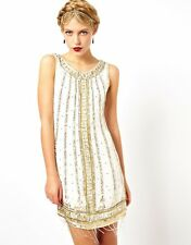 1920's FLAPPER CHARLESTON gatsby ART DECO sequin fringe tassel CREAM DRESS