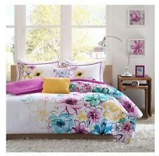 NEW Twin XL Full Queen Bed 5 pc Teal Green Purple Yellow Floral Comforter Set