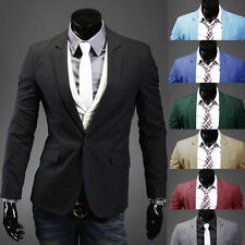 Stylish Men's Casual Slim Fit One Button Suit Pop Blazer Black Coat Jacket