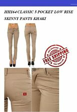 NEW DICKIES GIRLS HH164  KHAKI PANTS CLASSIC 5 POCKET SKINNY PANT WOMENS NWT