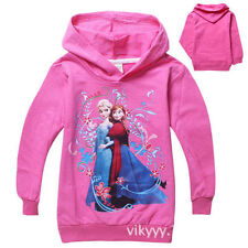 Disney Frozen Princess Elsa Anna Girls Hoodie Dress Costume Sweater hoody. UK