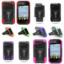 Sturdy Kickstand Hybrid Cover Phone Case for LG Optimus Zone 2 / Optimus Fuel