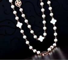 1PX long size gold silver faux pearl crystal double link chain sweater necklace