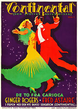 """Poster """"Continental"""" Ginger Rogers & Fred Astaire Misura A1A2A3A4"""