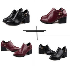 Retro Buckle thick with heel patent leather women ankle boots new