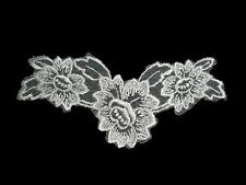 """Unotrim 5.5""""x2.75"""" Ivory Embroidered Floral Netting Lace Sew On Motif by Piece"""