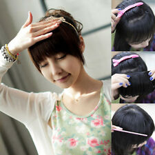 one piece Clip in hair extensions 2 clips on bangs fringe straight curly style
