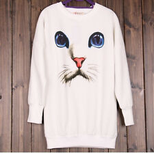 Pullover Hoodie Women Oversized Harajuku Blue Eyes Cat Printed Long Sweater
