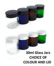 30ml Glass Ointment Jars Pharmaceutical Cosmetic Aromatherapy BLUE CLEAR AMBER