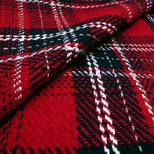 Red & Navy Heavy Chunky Check woven Coat fabric 70% wool - by the yard or M