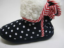 CLARKS GIRLS SLIPPER BOOTS NAVY WITH WHITE SPOTS F FITTING SLEEP WALK