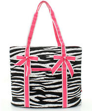 Zebra Animal Print Quilted Large Bucket Tote Bag Women Teens Team Sports Travel
