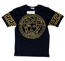 Brand New Authentic Black Versace T-Shirt Yellow Gold Medusa Head M,L,XL,XXL