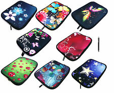 """Neoprene Sleeve Zip Case Cover Pouch for Tablets 9.7"""" - 10.1""""and Black Stylus"""