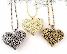 Korean Retro Hollow Carved 3Colors Heart Charm Pendant long chain necklace Gift