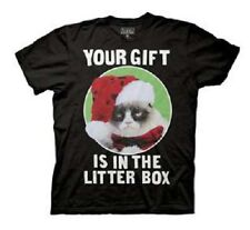 Grumpy Cat Your Gift Is In The Litter Box Adult T-shirt - Black