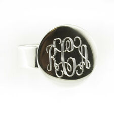 925 Sterling Silver Monogram Engravable Round Signet Ring