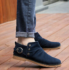 Korean New Men's Cotton Round Head Slip On Loafer Casual Shoes Ankle Boots Boot