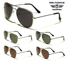 Air Force Aviator Sunglasses - Silver Frame / Grey Lens (Available In 5 Colours)