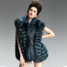 Nobility Real Silver Fox Vest Women Winter Sleeveless Overcoat Blue QD29208