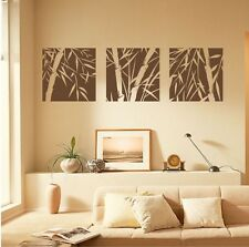 3 Large Pcs Bamboo Wall Art Sticker Decal Bedroom Home Decor Canvas Dining room