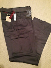 "NWT Men's LR Scoop Solid Gray Slim Fit Belted Cargo Pants ALL SIZE 32"" length"
