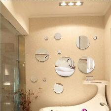 5pcs Diy Acrylic mirror crystal  Round circle bathroom 3D wall stickers decor