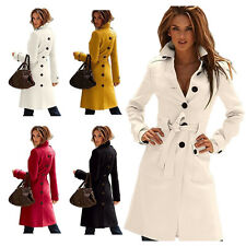 Hot Womens Belted Long Cashmere Coats Winter Work Dating Outdoor Overcoat Jacket